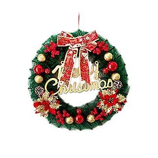 Weihnachtsdeko-Trkranz-Frohe-Weihnachten-Tannennadeln-Kranz-mit-Weihnachtskugeln-Schleife-Ornament-Verzierung-fr-Fensterwand