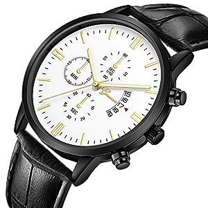 uhr-for-herren-Chronograph-Analogue-Quartz-Wasserdicht-Business-Schwarz-Zifferblatt-Armbanduhr-mit-Edelstahl-Armband