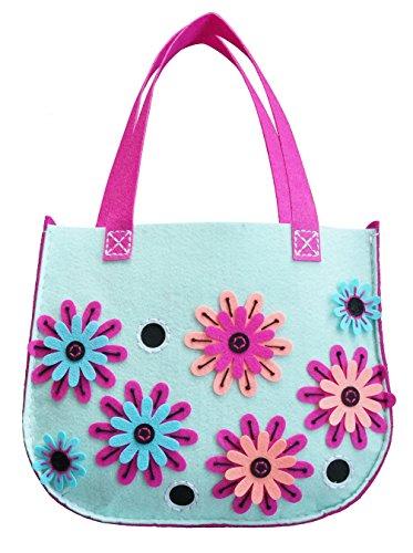 Kleiber 93171 Filzbastel-Set Tasche Blütenpower Filz, blau, 37 x 30,5 x 0,8 cm