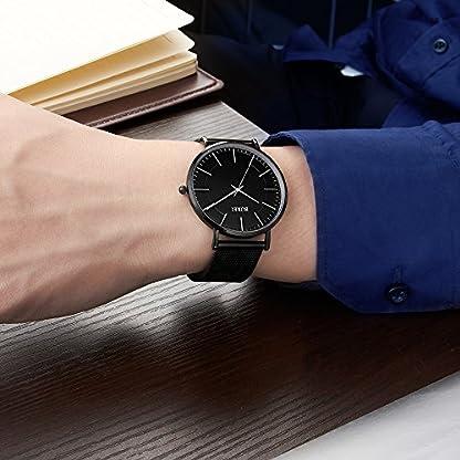 BUREI-Unisex-All-Schwarz-Uhren-Ultra-Dnn-Grosse-Ziffernblatt-Flach-Stylische-Armbanduhr-mit-Milanaise-Mesh-Band-Einfach-Design