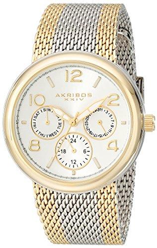 Akribos-XXIV-Damen-Armbanduhr-Quarz-Multifunktions-Analog-Display-Edelstahl-mit-Mesh-Armband