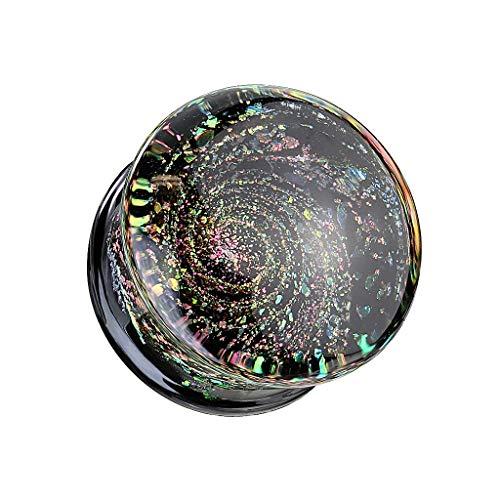 beyoutifulthings Ohr-Plug Funkelnde Galaxie Ohr-Piercing Ohr-Schmuck Glas Tunnel Double Flare Sattel-Verschluss Schwarz Bunt 8-16mm