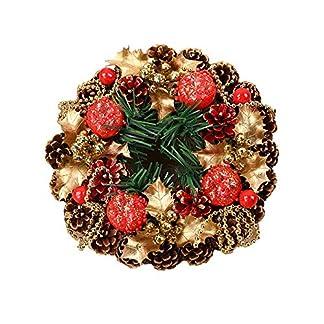 ZXPAG-Weihnachtsdeko-Kranz-Hangend-Kerzenhalter-Handgefertigt-Schaum-Tannenzapfen-fr-Deko-Weihnachten-Advent-Trkranz