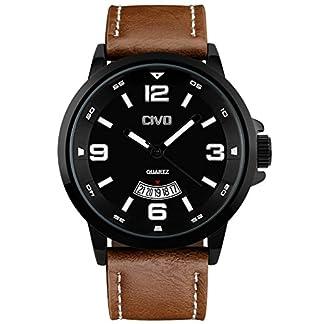 CIVO-Herren-Armbanduhr-Armband-aus-braunem-Leder-Wasserdicht-Business-Casual-Klassisches-einfaches-Design-Analog-Quarzuhrwerk-Datum-Kalender-schwarzes-Zifferblatt
