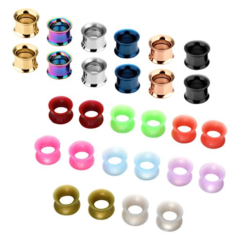 JSDDE Schmuck,Set 14 Paare 3-20mm Chirurgenstahl+Silikon Flesh Tunnel Ohr Plug Double Flared Ohrpiercing Klassisch Punk