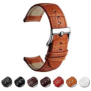 MEGALITH-Uhrenarmband-Echtes-Leder-Uhrband-16mm-18mm-20mm-22mm-Watch-Armband-Premium-Lederband-fr-Herren-Damen-mit-Edelstahl-Metall-Schliee