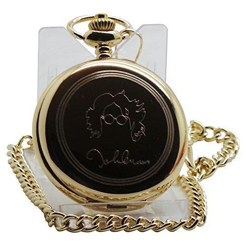 John-Lennon-SIGNED-Taschenuhr-24-kt-Gold-beschichtet-Luxus-Geschenk-in-Box-Ein-tolles-Sammlerstck-fr-Lennon-Beatles-Fans-und-Kuriositten-Sammler