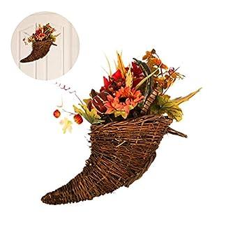 Bloomma-Weihnachtskranz-Home-Herbst-Farbe-Ahornblatt-Sonnenblume-Horn-Form-Bouquet-Anhnger-Weihnachten-Halloween-Mall-Fenster-Dekoration