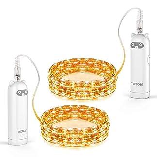 TECBOSS-LED-Lichterketten-2er-Pack-50-LED-164Ft-Lichterketten-batteriebetriebene-Leuchten-fr-Hochzeitsfeiern-Hausgarten-Schlafzimmer-Outdoor-Indoor-Wanddekorationen-Weihnachtsdekor