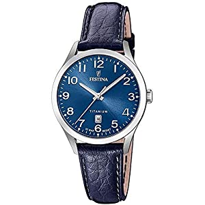 Festina-Damen-Analog-Quarz-Uhr-mit-Leder-Armband-F204692