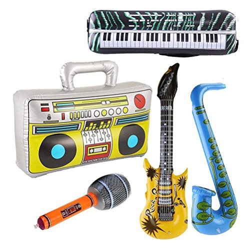 TOYMYTOY-Aufblasbare-Instrument-Spielzeug-Rock-and-Roll-Party-Supplies-Gitarre-Mikrofon-Saxophon-Keyboard-Klavier-Radio-5-Stck