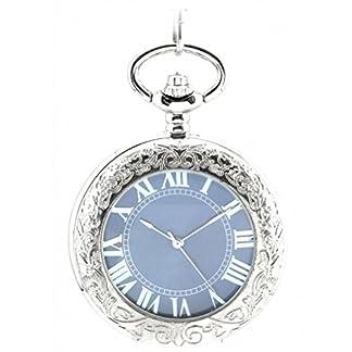 Unendlich-U-Fashion-Retro-Handaufzug-Mechanische-Taschenuhr-Lupe-Hohle-Skelett-Kettenuhr-Pullover-Halskette-Blaues-Zifferblatt-Silber