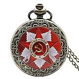 Herren-Taschenuhr-Bronze-Retro-Vintage-Quarz-Taschenuhr-Halskette-Herren-Geschenk-fr-Herren