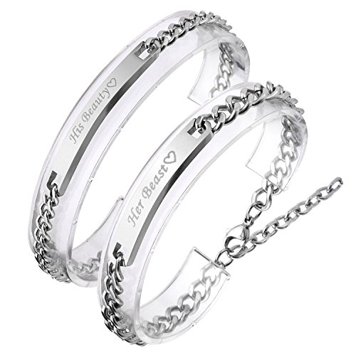 "JOVIVI Gratis Kundenspezifische Gravur Edelstahl ""Her Beast/His Beauty"" Schrift Silber Partner Armband Rope Chain Curb Armreif"