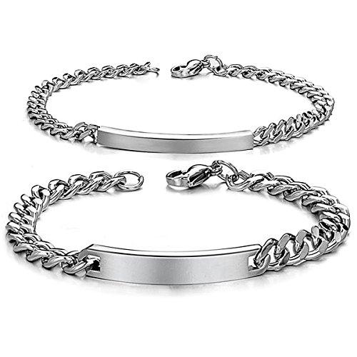 JewelryWe Schmuck 2pcs Herren Damen Armband, Lieben Freundschaftsarmband Valentinstag Geschenke, Glänzend Poliert, Edelstahl, Silber, kostenlos Gravur