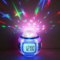 Premium-Wecker-Sternenhimmelprojektor-LED-digital-10-Melodien-Uhr-Nachtlicht-Einschlafhilfe-fr-Baby-Kinder-Dekolampe-Deko-Lampe-Leuchte-Dekoleuchte-Sternenhimmel-Mond-und-Sterne-Projektor