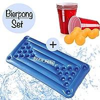 XXL-Beer-Pong-Bier-Pong-Setaufblasbare-hochwertige-Bierpong-Luftmatratze-inkl-24x-rote-Partybecher-u-5x-Blle-aufblasbarer-schwimmender-Beerpong-TischPool-Pong-Matraze-Red-Cups-Party-Trinkspiel