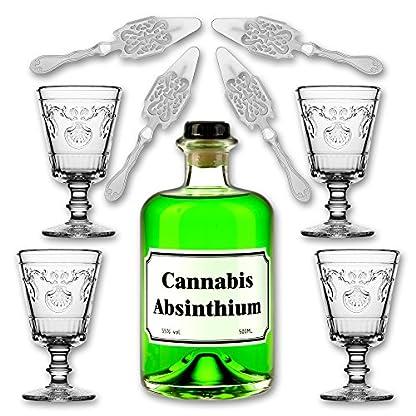 Cannabis-Absinthium-05l-55-vol-Alc-4x-Absinth-Glas-Versailles-200ml-4x-Absinth-Lffel-Antique