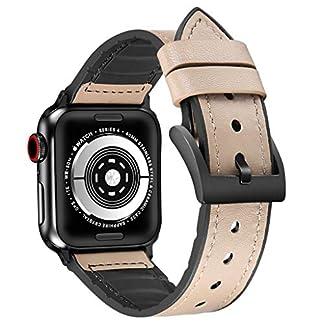 Hukz-Leder-TPU-Armband-fr-apple-watch-serie-4-TPU-Lederband-mit-schwarzer-Schnalle44mm40mm