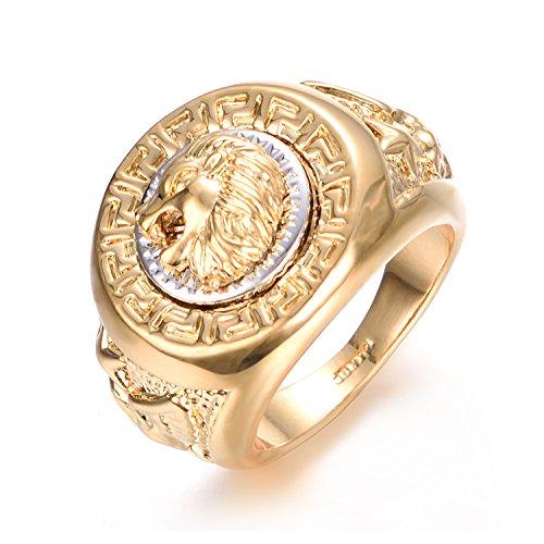 Yoursfs ring Kopf des Löwen gelben Ring 18 k vergoldet Gold und weiß für den Menschen als Accessoire oder Geschenk-Geburtstags-Party