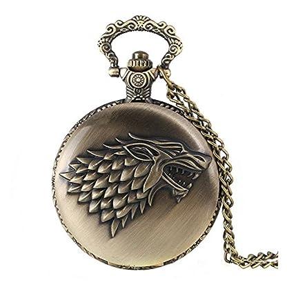 Game-of-Thrones-Quarz-Taschenuhr-mit-Wappen-Haus-Stark-fr-Herren-in-Retro-Vintage-Stil-mit-Antikbronze-Effekt-und-80-cm-langer-Halskette