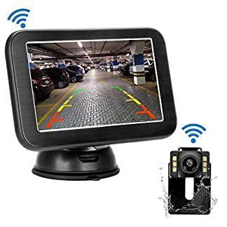 Kabellos-Digital-Rckfahrkamera-Set-mit-5-LCD-Monitor-mit-Antenne-Funk-Rckfahrkamera-Wireless-Einparkhilfe-Wasserdicht-IP68-Backup-Kamera-Nachtsicht-fr-SUVVanKfZAnhnger