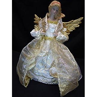 UK-Gardens-goldene-Christbaumspitze-im-Engel-Design-20-cm-zur-Verwendung-auf-echten-oder-knstlichen-Weihnachtsbumen