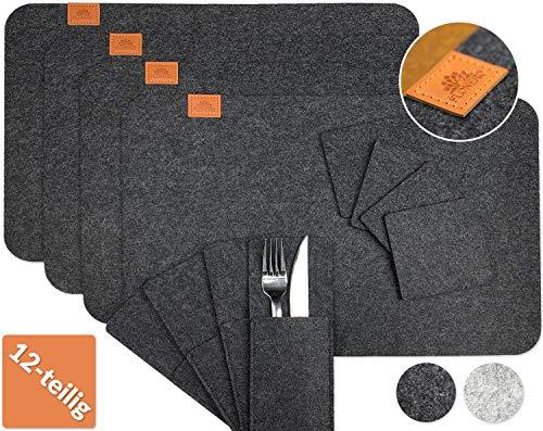 FLONERO Premium Platzset abwischbar aus Filz – 12-teiliges Tischset – Filzuntersetzer/Tischuntersetzer für 4 Personen – edle Platzdeckchen in grau – Filzmatte waschbar & saugfähig (anthrazit)
