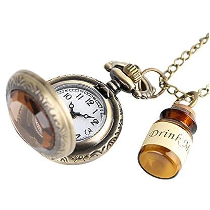OFKPO-Vintage-Damen-TaschenuhrTaschenuhr-Halskette-mit-FlascheGut-Geschenk-fr-Mdchen