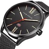 Uhren-Unisex-dnn-schwarz-Mesh-Edelstahl-Wasserdicht-Armbanduhr-Herren-und-Damen-Quarz-Armbanduhr-fr-Mnner-Frauen-Damen