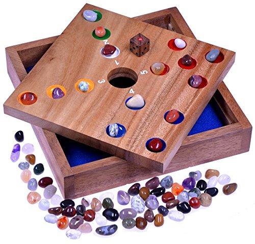 Big-Hole-Pig-Hole-Wrfelspiel-Gesellschaftsspiel-Brettspiel-aus-Holz-mit-Edelsteinen