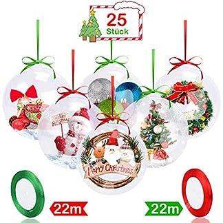 FHzytg-25-Stck-Weihnachtskugeln-Baumschmuck-DIY-8cm-Weihnachtsbaumschmuck-Klar-Kunststoff-Befllen-Weihnachten-Deko-Christbaumschmuck-Plastik-Kugeln-mit-2-Stck-22m-Rot-Grn-Seil-Aufhngese