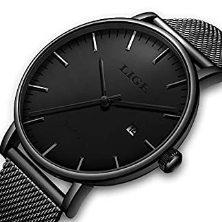 LIGE-Watches-Herren-Sport-Armbanduhr-wasserdicht-analog-Quarz-einfach-modisch-legeres-Design-klassisch-Netz-Uhr-Schwarz
