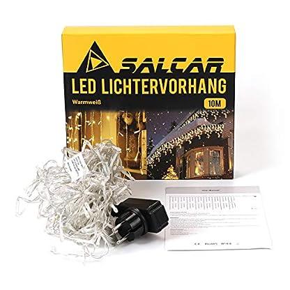 Salcar-5m-10m-LED-Lichtvorhang-3m-Netzkabel-dekorative-LED-Lichterkette-mit-200-400-spritzwassergeschtzten-LEDs-31V-Sicherheitsnetzteil-8-Betriebsmodi-mit-Memory-Funktion-Warmwei