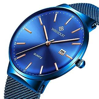 WISHDOIT-Herren-Uhren-Mode-Luxus-Slim-Damen-Mnner-Armbanduhr-Classic-Lssige-Ultradnne-Quarzuhr-Minimalistisches-Design-mit-Blau-Milanaise-Armband