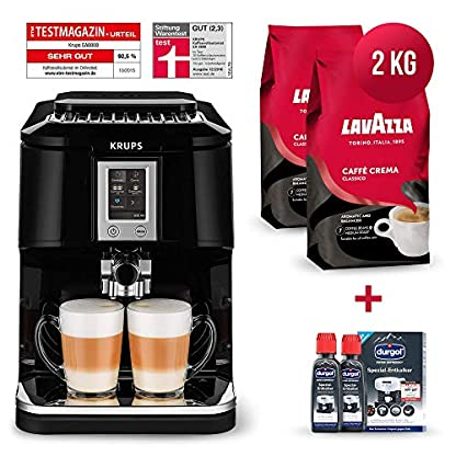 Krups-Kaffeevollautomat-Testsieger-Megapack-2x-1-Kg-Lavazza-Caffe-Crema-Classico-Kaffeebohnen-Kaffee-2x-125ml-durgol-swiss-espresso-Spezial-Entkalker-Kaffeemaschine-mit-Two-in-One-Touch-Funktion
