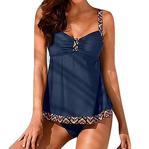 Damen große größen Badeanzug Mode Tankini Sets mit V-Ausschnitt 2 Stück / Satz Bademode, Juleya