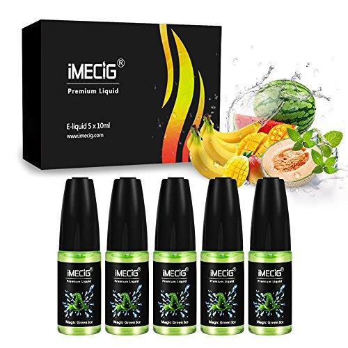 IMECIG® 5 x 10ml Premium E-Liquid-BOX – Magische Grüne Eis – Probierset für E-Zigaretten und E-Shishas, 0,0mg Nikotin, 5 stück