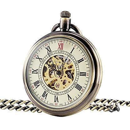 TREEWETO-Retro-Handaufzug-Mechanische-Taschenuhr-Herren-Skelett-Uhr-Rmische-Ziffern-mit-Kette-und-Geschenkbox