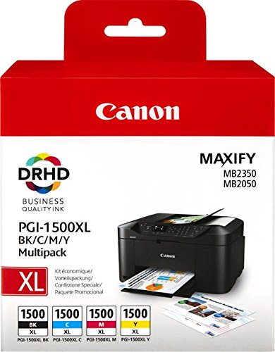 Canon-PGI-1500XL-4-original-Tintenpatrone-Multipack-XLCianXLMagentaXLAmarilloXL-fr-Maxify-Drucker-MB2050-MB2150-MB2155-MB2350-MB2750-MB2755-schwarz