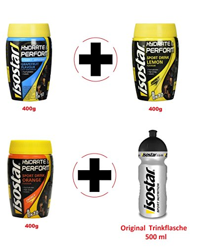 Isostar Hydrate & Perform Grapefruit – Zitrone – Orange – Pulver | 3er Angebotspack + Original Trinkflasche
