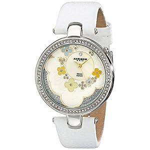Akribos-XXIV-Damen-Kunstvoller-Lady-Diamond-Blume-Zifferblatt-Swiss-Quarz-Lederband-Armbanduhr