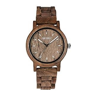 ZARTHOLZ-Holzuhr-Klassik-aus-Walnussholz-fr-Herren-und-Damen-Holz-Armbanduhr-inklusive-Geschenkverpackung-aus-Holz-Werkzeug-Braun-Silber-40mm-Gehusedurchmesser
