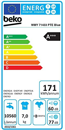 Beko-WMY-71433-PTE-Blue-Waschmaschine-A-171-kWh-1400-UpM-7-kg-Watersafe-Pet-Hair-Removal-Mengenautomatik-BabyProtect-Multifunktionsdisplay-XL-Chromtr-mit-34-cm-Einfllffnung-15-Programme-Aquafusion-opt
