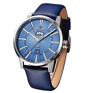BY-BENYAR-Herren-Stilvolle-raffinierte-Armbanduhr-aus-Stahl-Quarzwerk-43mm-Edelstahl-Zifferblatt-30M-Wasser-und-Kratzfestigkeit-Gelegenheit