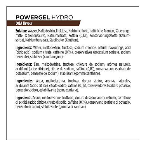 PowerBar Power Gel Hydro mit Kohlenhydraten, Maltodextrin & Natrium – Energie Gels – Vegan – Trinkbar ohne Wasser – 100 mg Koffein – Cola, 24 x 67 ml
