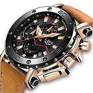 LIGE-Uhr-Herren-Chronograph-Militr-Wasserdicht-Lssige-Analog-Quarz-Armbanduhren-mit-Braun-Lederband-Groes-Zifferblatt-Datum-Kalender