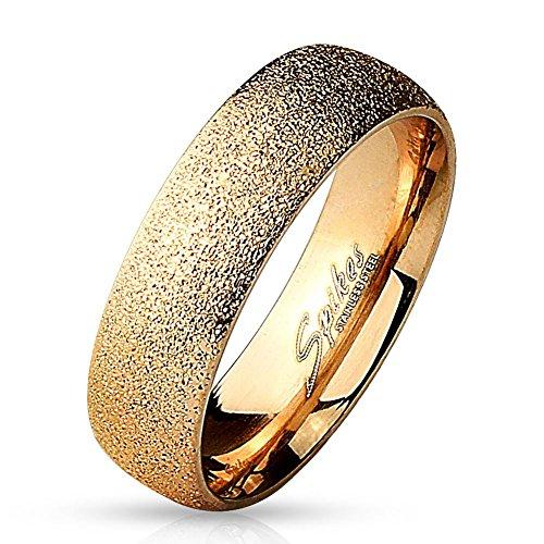 Coolbodyart Tapsi´s Dome Ring Edelstahl Sand Gestrahlt Rose Gold 6mm Breit 47(15)-60(19)