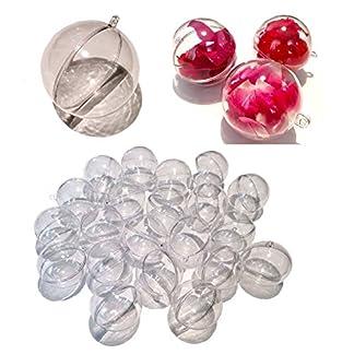 CRYSTAL-KING-20-Stck-Acrylkugeln-5cm-durchsichtige-Kugel-aufhngen-transparent-Dekokugel-Bastel-Set-Christbaumkugeln-Acrylkugel-Weihnachtsbaum-Kugel-Teilbar-befllen-befllbare