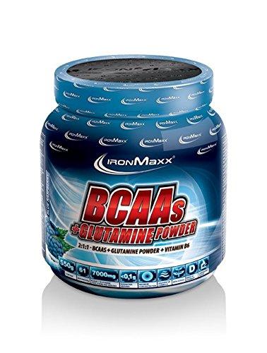 IronMaxx BCAA Pulver + Glutamin Pulver / Hohe Konzentration an Aminosäuren und L-Glutamin / Muskelaufbau und Muskelerhalt / Vitamin B6 / Wenig Kohlenhydrate & Zucker / Cola Limette-Geschmack / 550g
